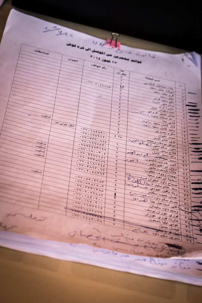 List with names in the Catholic Assyrian refugee center in Qarqosh