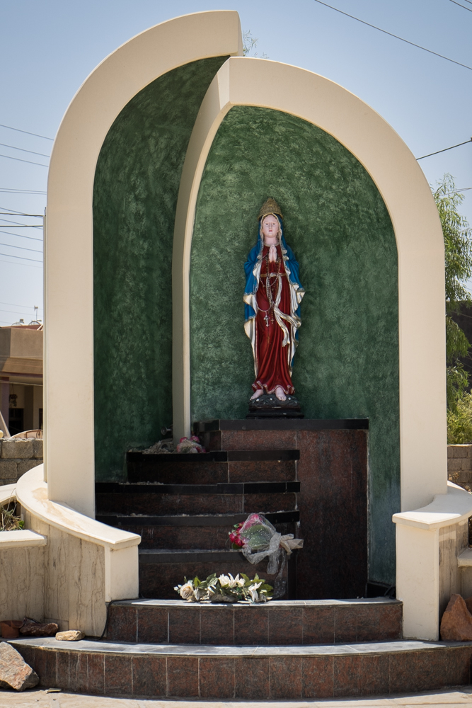 Statue of Virgin Mary in Catholic Assyrian refugee center